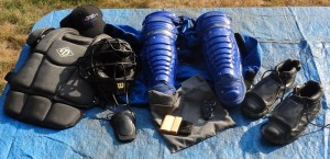 Baseball home plate umpire equipment and gear